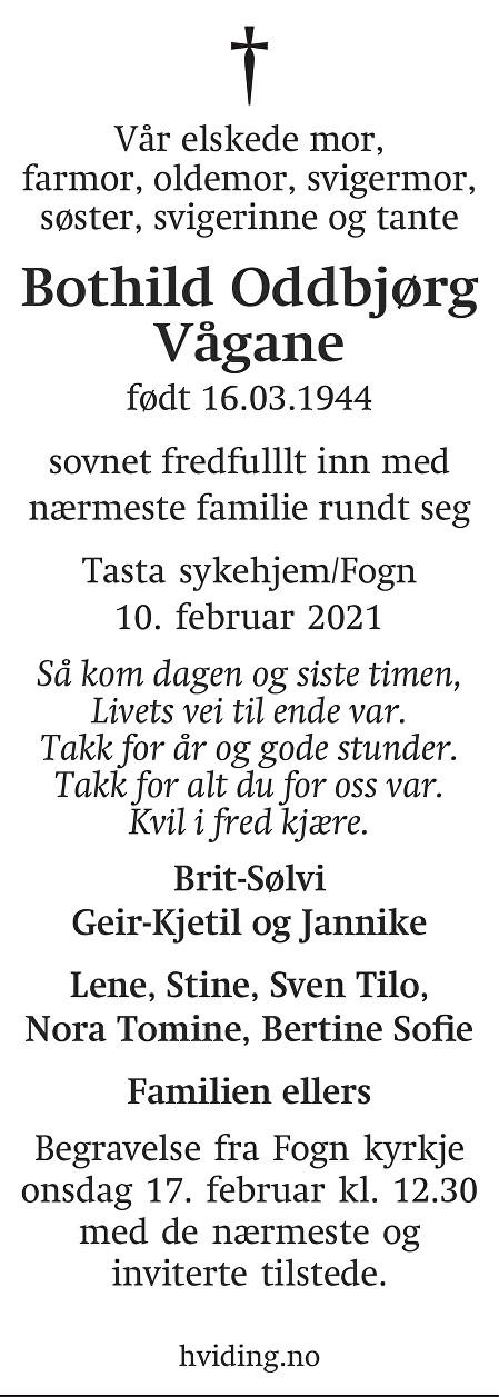 Bothild Oddbjørg Vågane Dødsannonse