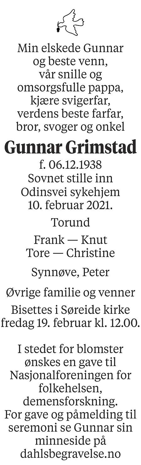 Gunnar Grimstad Dødsannonse
