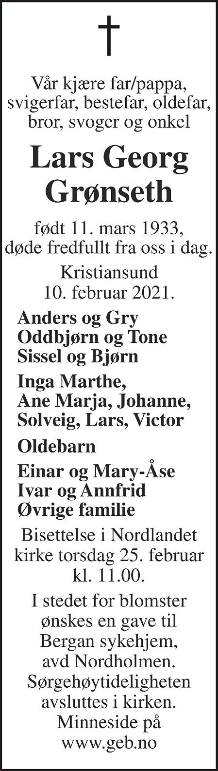 Lars Georg Grønseth Dødsannonse