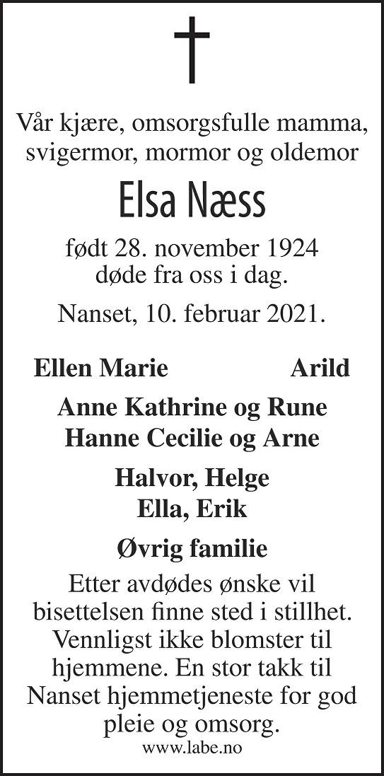 Elsa Næss Dødsannonse
