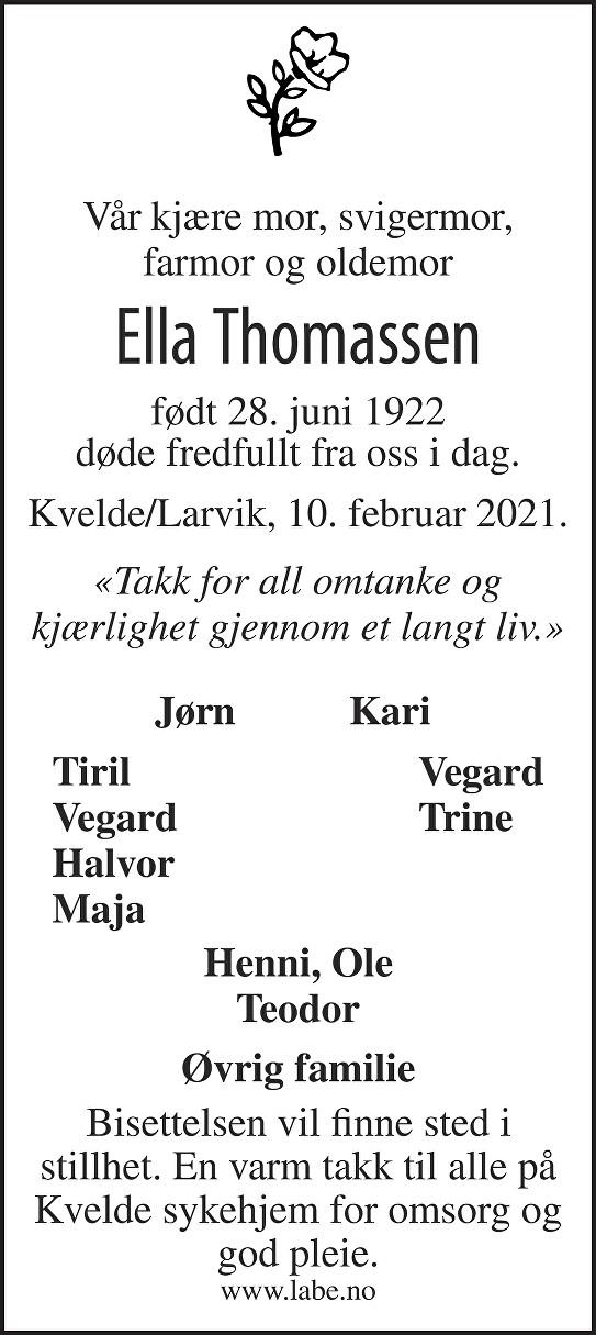 Ella Thomassen Dødsannonse