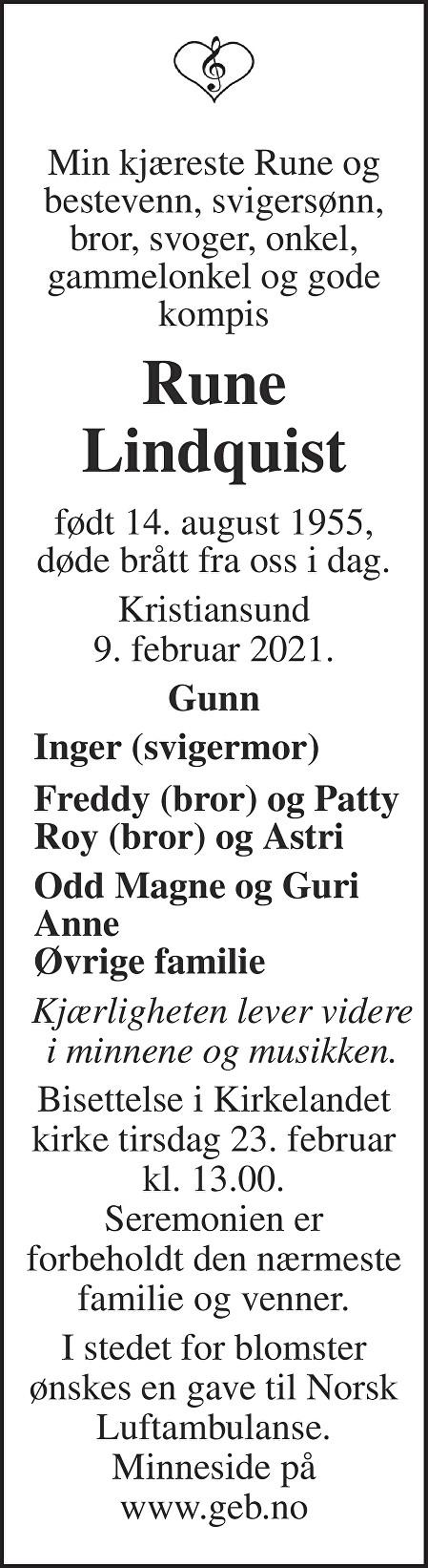 Rune Lindquist Dødsannonse