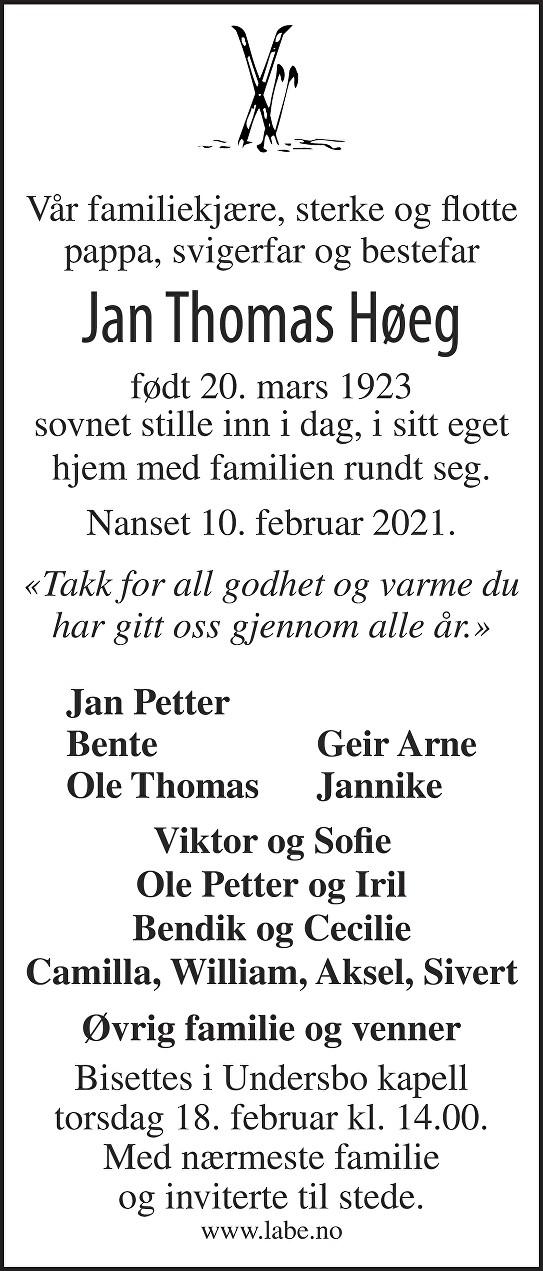 Jan Thomas Høeg Dødsannonse