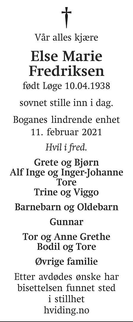 Else Marie Fredriksen Dødsannonse