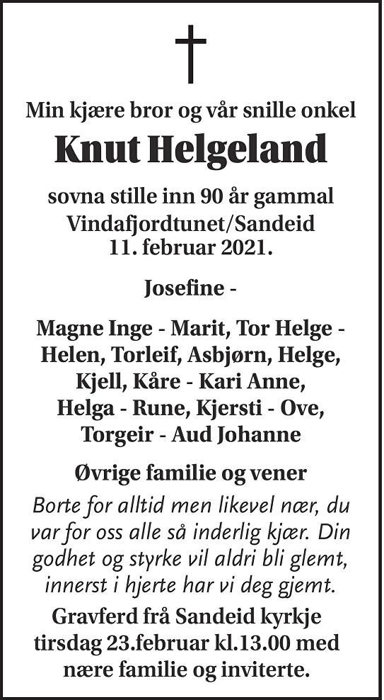 Knut Helgeland Dødsannonse