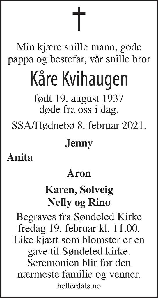 Kåre Jørgen Kvihaugen Dødsannonse