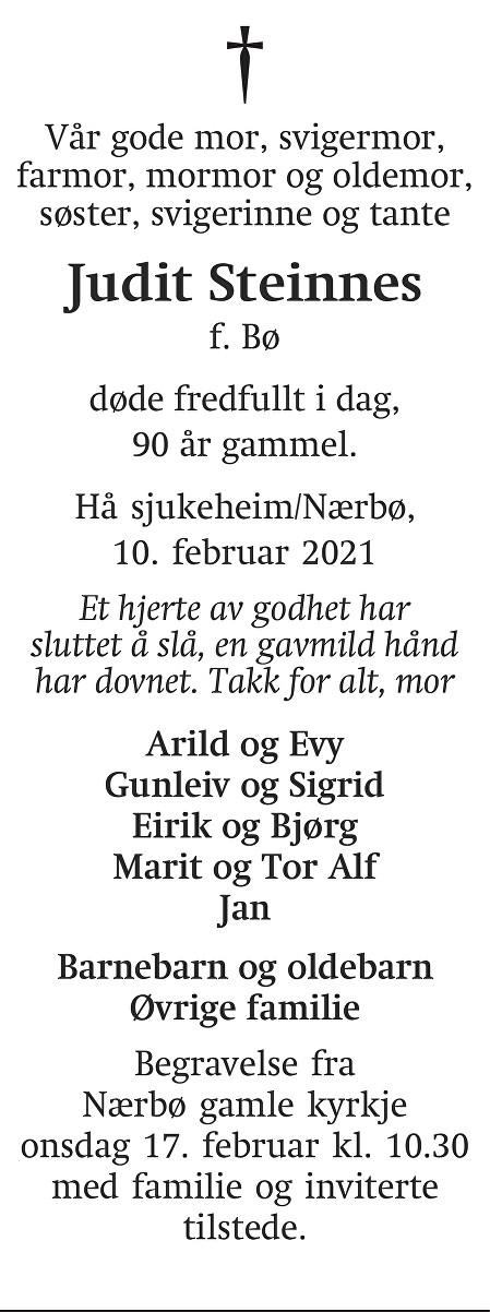 Judit Steinnes Dødsannonse
