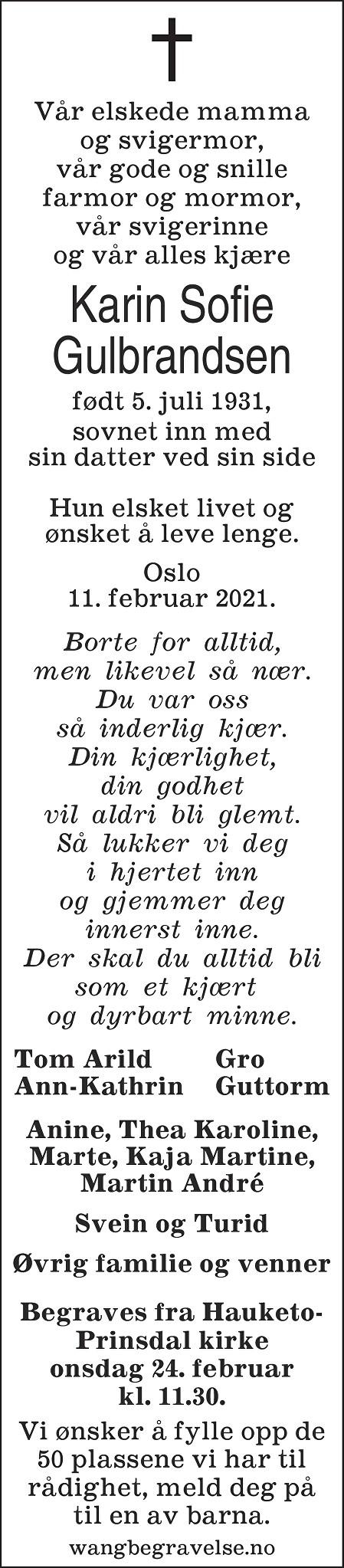 Karin Sofie Gulbrandsen Dødsannonse