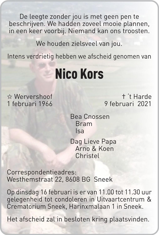 Nico Kors Death notice