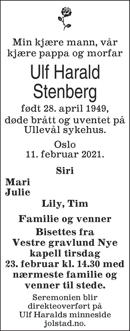 Ulf Harald Stenberg Dødsannonse