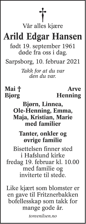 Arild Edgar Hansen Dødsannonse