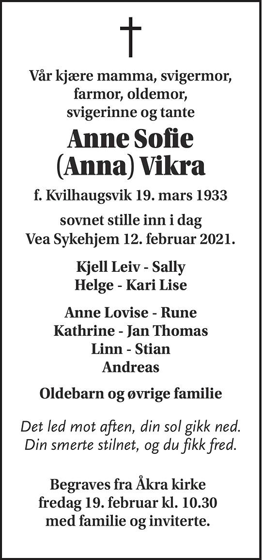Anne Sofie (Anna) Vikra Dødsannonse