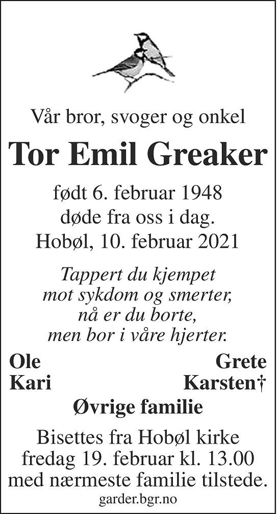 Tor Emil Greaker Dødsannonse