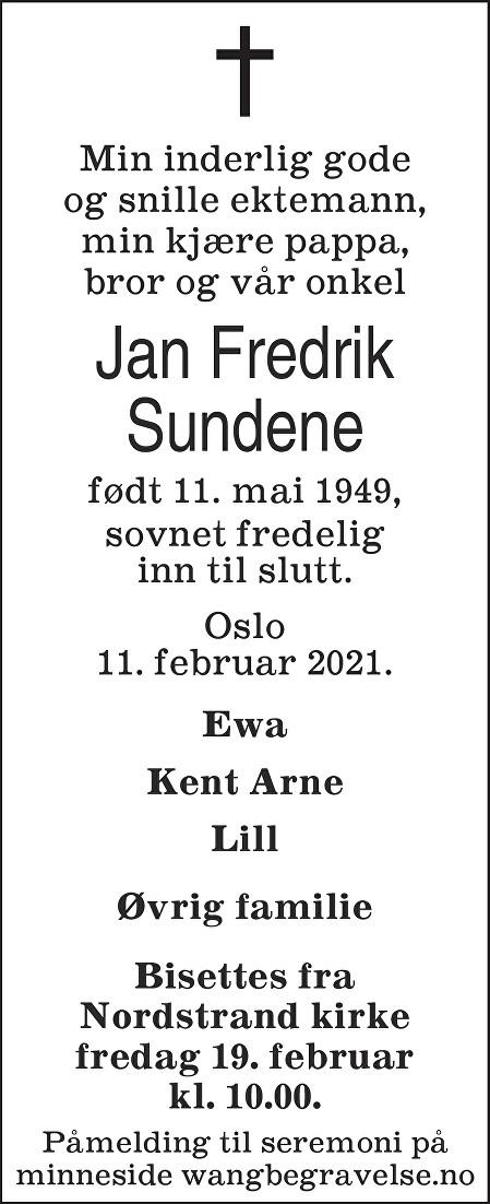 Jan Fredrik Sundene Dødsannonse