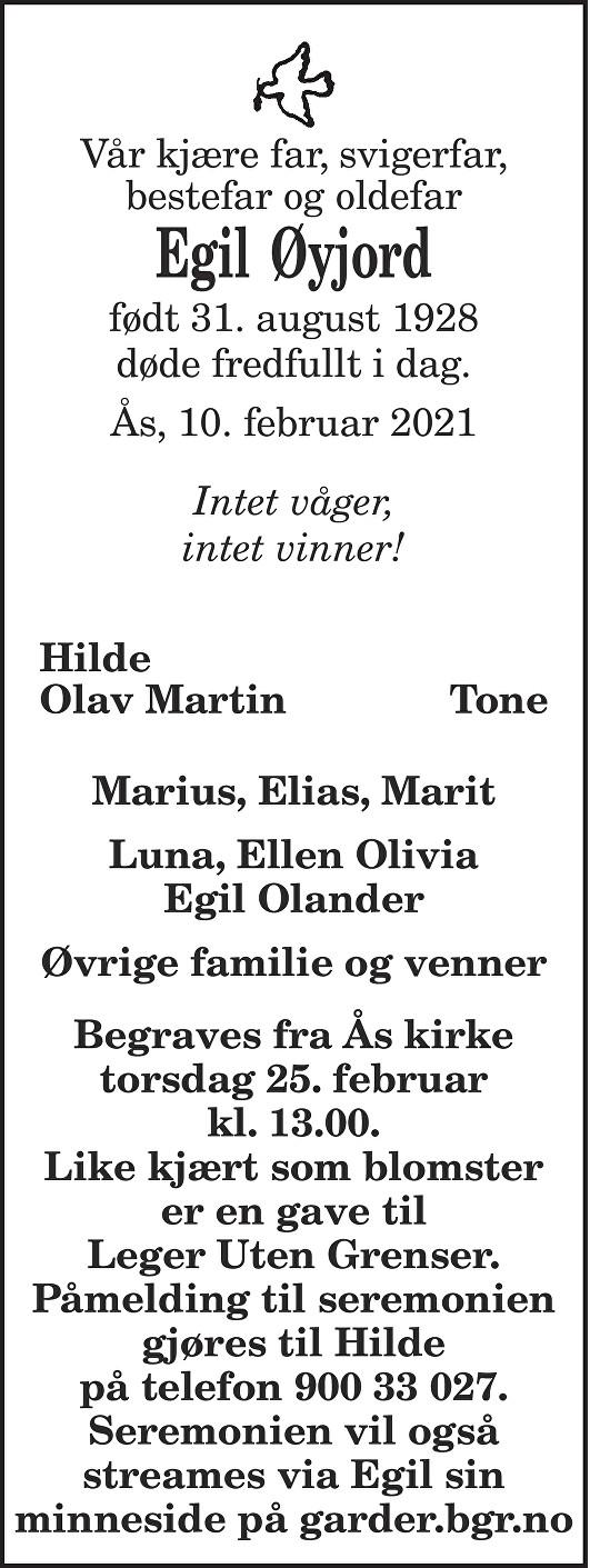 Egil Øyjord Dødsannonse