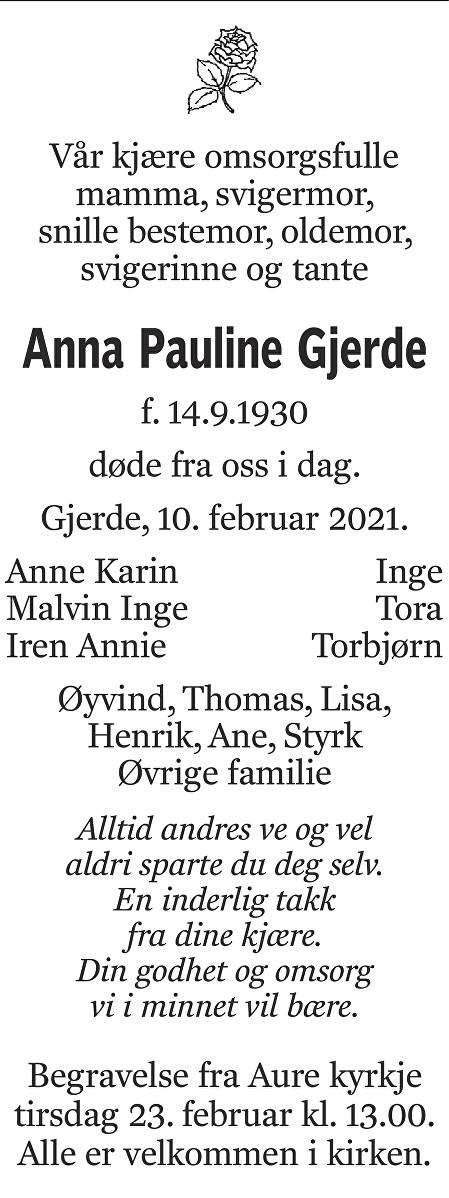 Anna Pauline Gjerde Dødsannonse