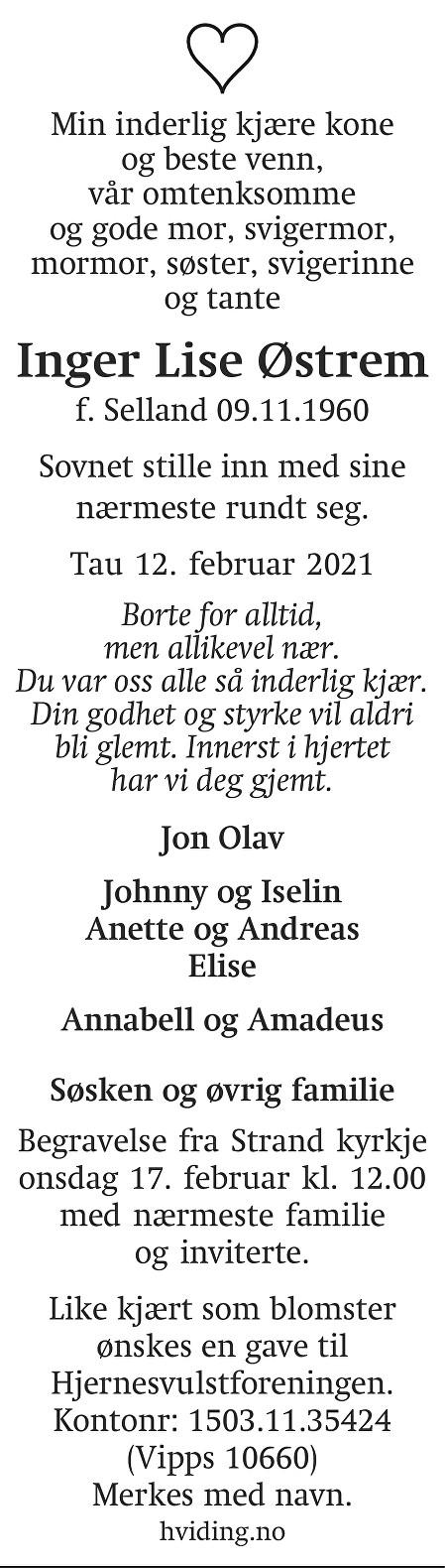 Inger Lise  Østrem Dødsannonse
