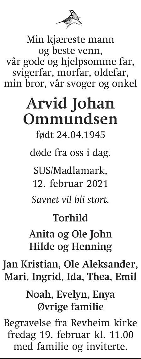 Arvid Johan Ommundsen Dødsannonse