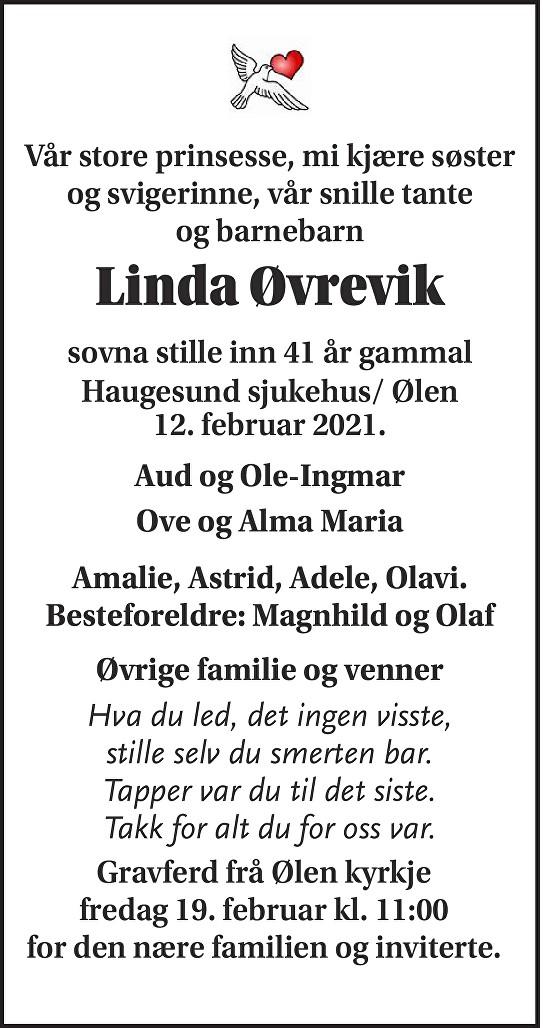 Linda Øvrevik Dødsannonse