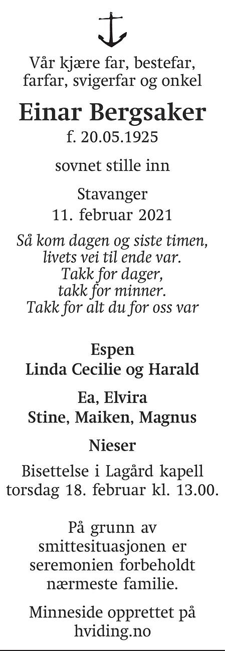 Einar Bergsaker Dødsannonse