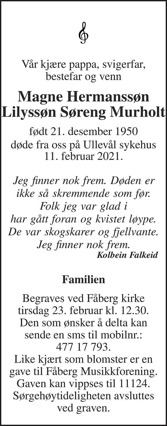 Magne Hermanssøn Lilyssøn Søreng Murholt Dødsannonse