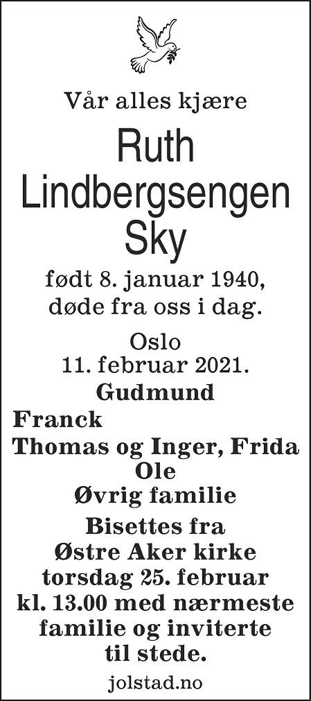Ruth Lindbergsengen Sky Dødsannonse