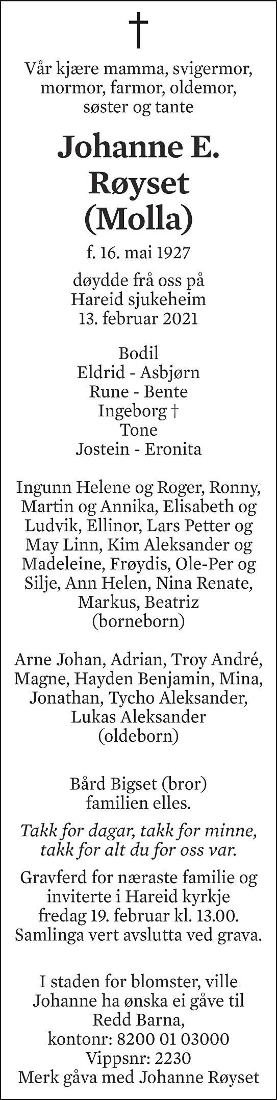 Johanne E. Røyset Dødsannonse