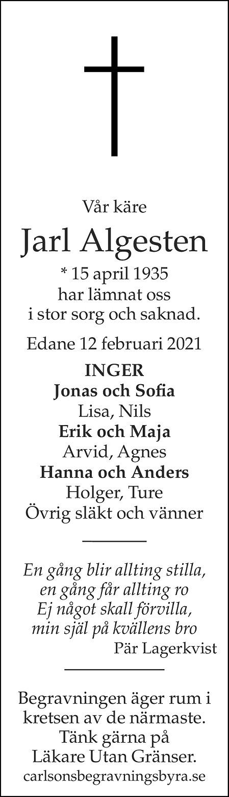 Jarl Algesten Death notice