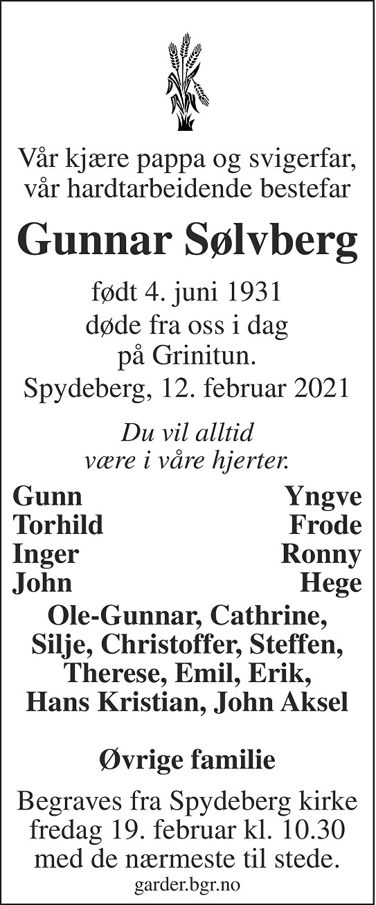 Gunnar Sølvberg Dødsannonse