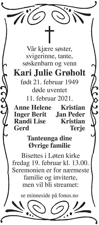 Kari Julie Grøholt Dødsannonse