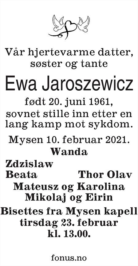 Ewa Jaroszewicz Dødsannonse