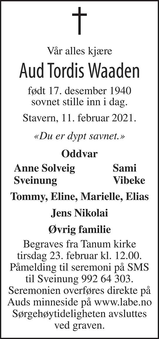Aud Tordis Waaden Dødsannonse