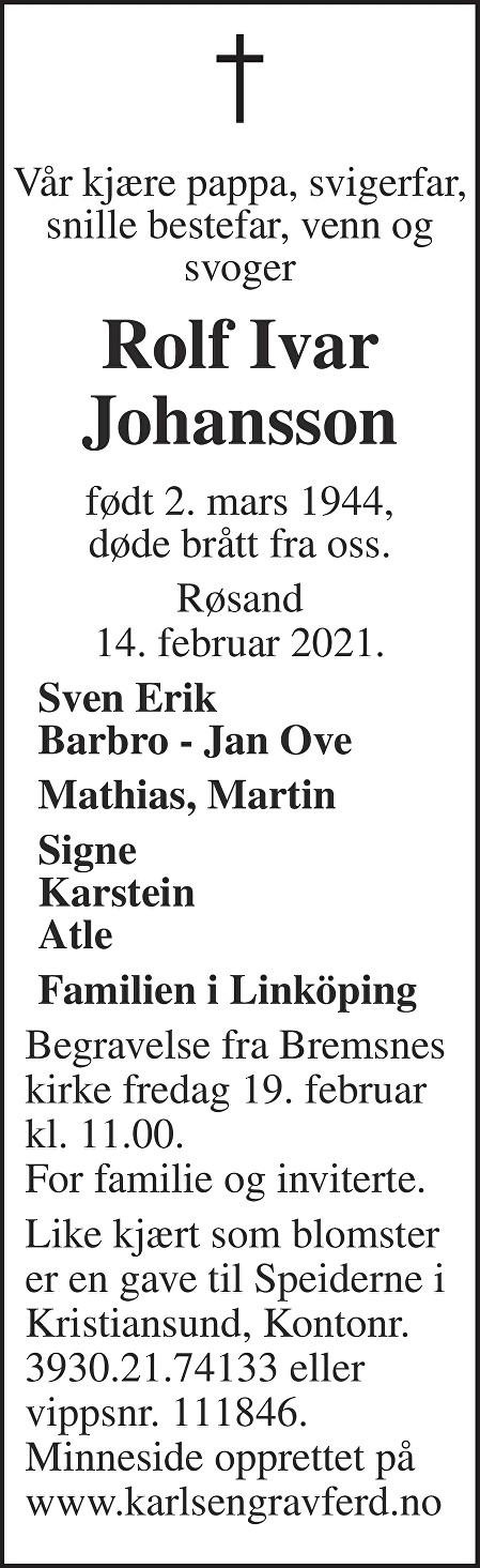 Rolf Ivar  Johansson Dødsannonse