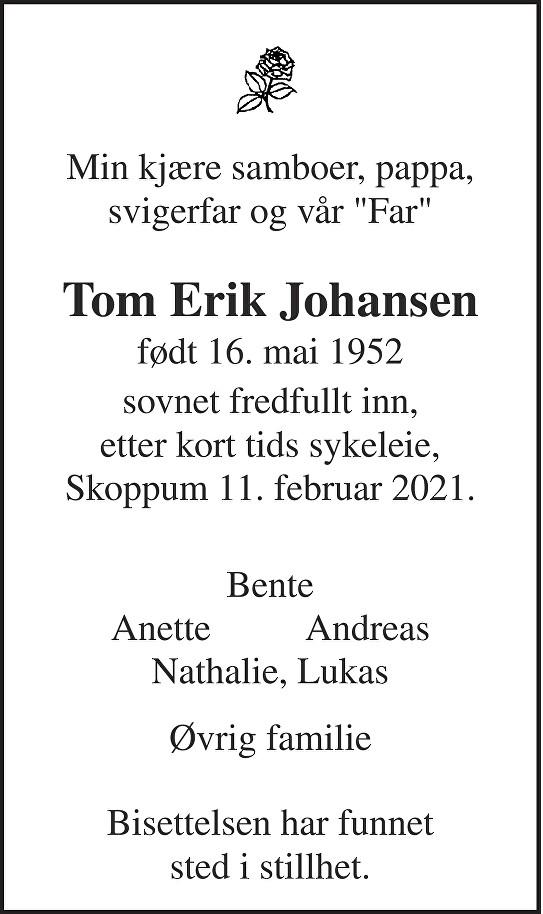 Tom Erik Johansen Dødsannonse