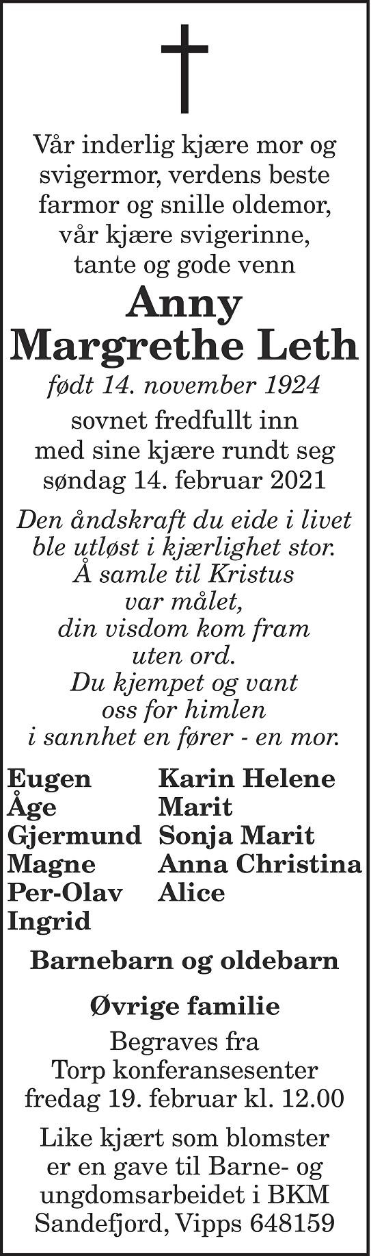 Anny Margrethe Leth Dødsannonse