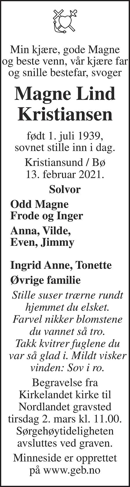 Magne Lind Kristiansen Dødsannonse