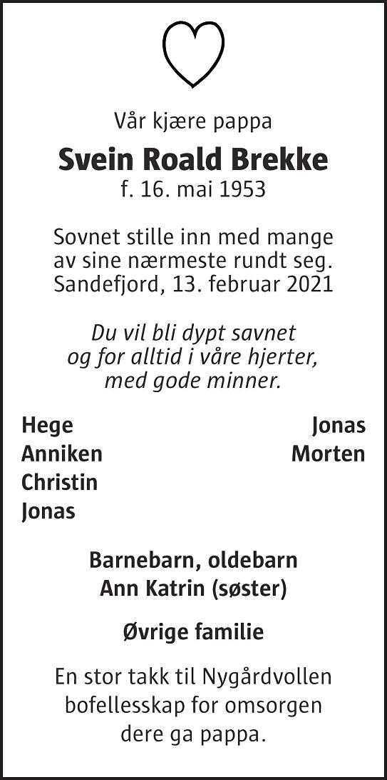 Svein Roald Brekke Dødsannonse