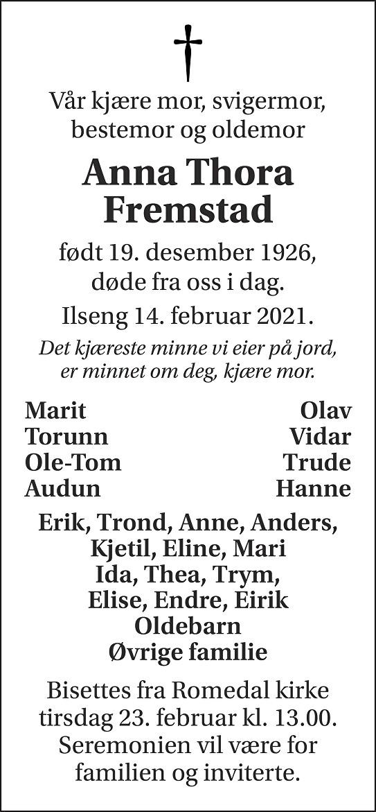 Anna Thora Fremstad Dødsannonse