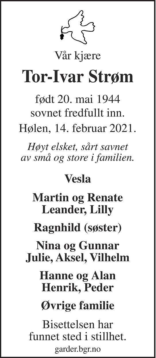 Tor-Ivar Strøm Dødsannonse