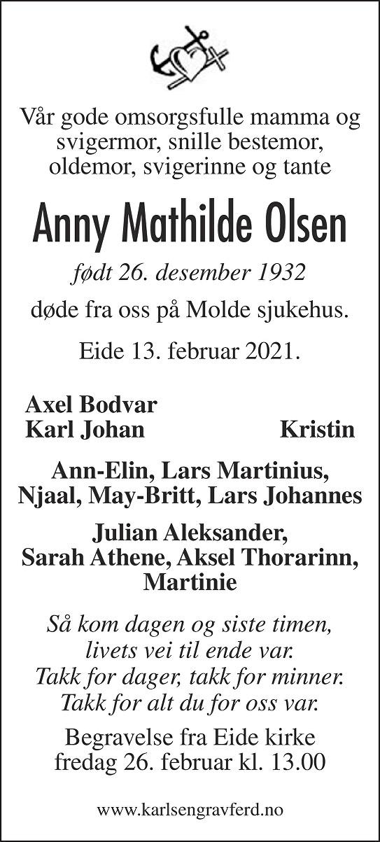 Anny Mathilde Olsen Dødsannonse