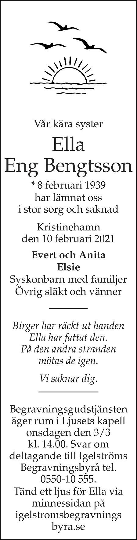 Ella Eng Bengtsson Death notice