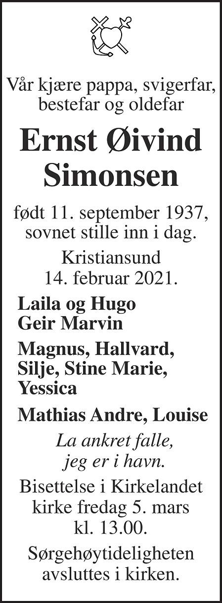 Ernst Øivind Simonsen Dødsannonse
