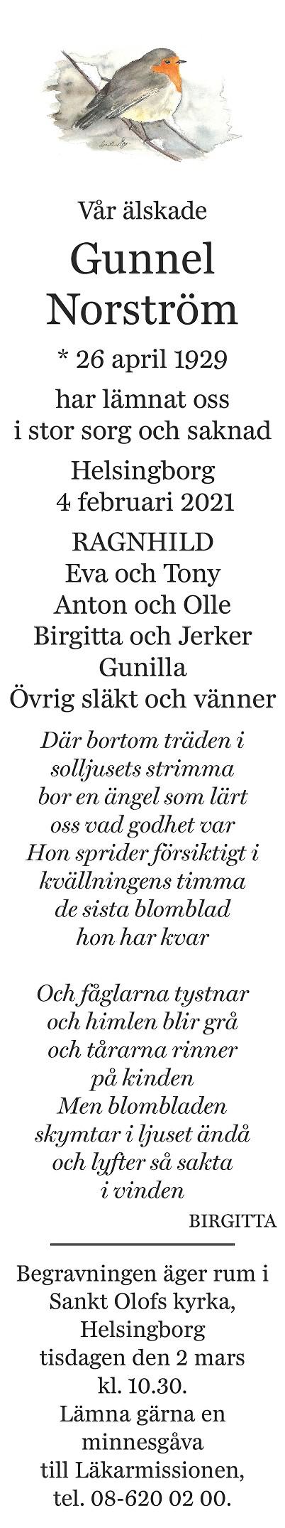 Gunnel Norström Death notice