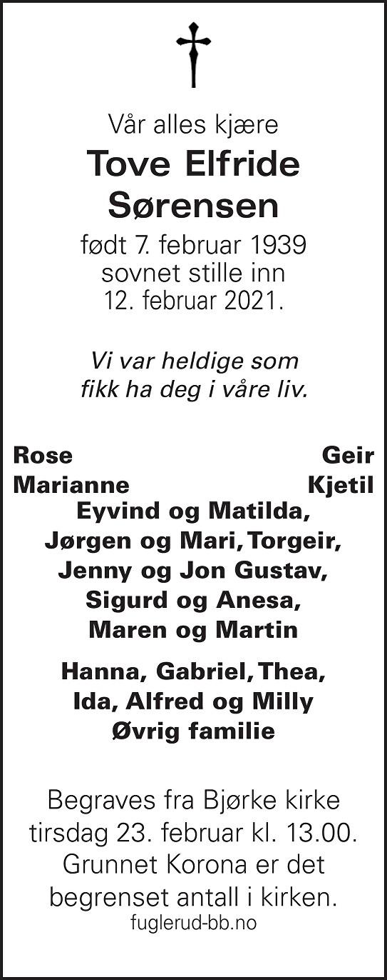 Tove Elfride Sørensen Dødsannonse