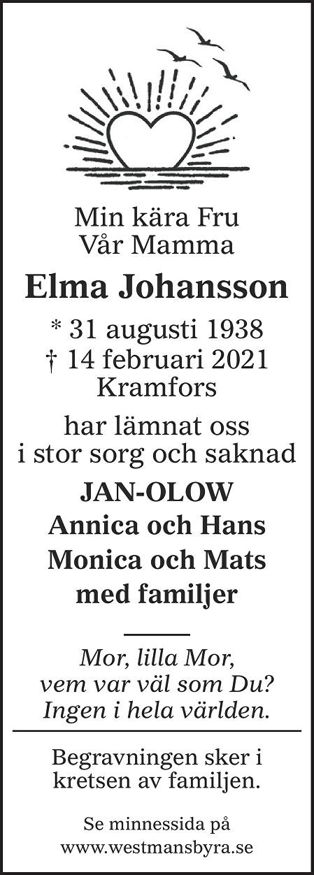 Elma Johansson Death notice