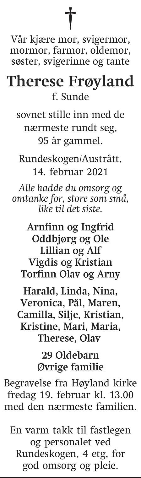 Therese Frøyland Dødsannonse
