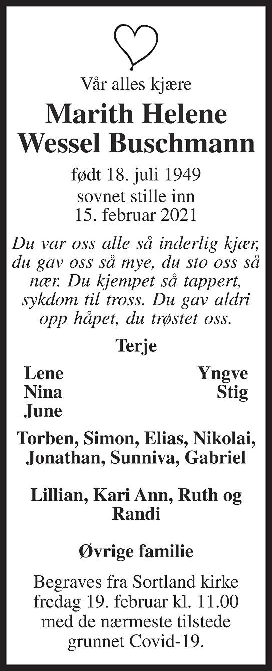 Marith Helene Wessel Buschmann Dødsannonse