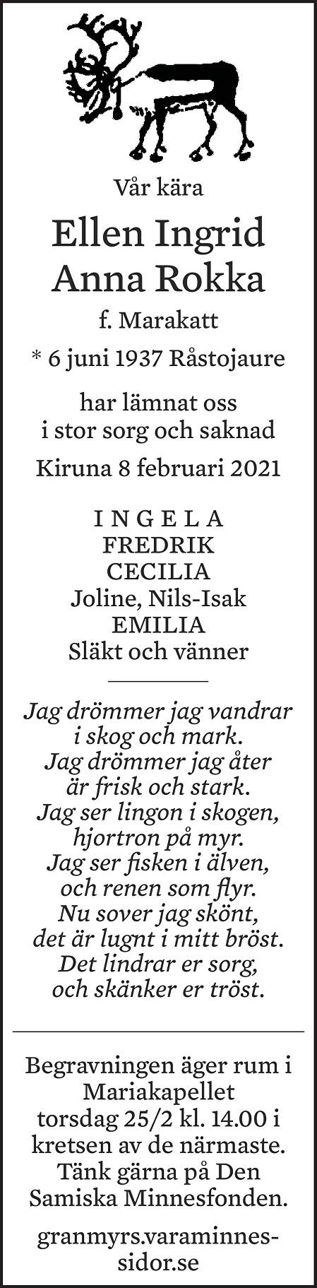 Ellen Ingrid Anna Rokka Death notice