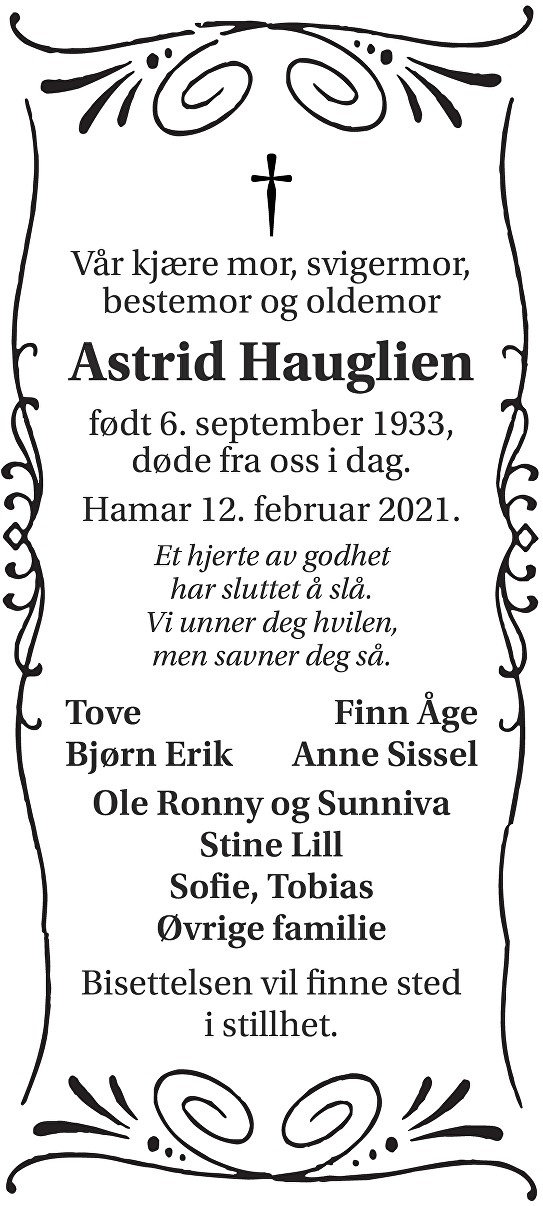 Astrid Hauglien Dødsannonse