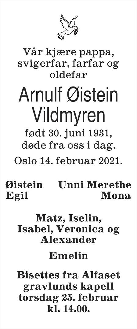 Arnulf Øistein Vildmyren Dødsannonse